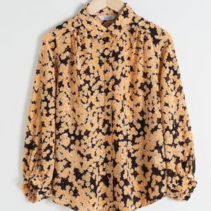 & other stories printed silk button up